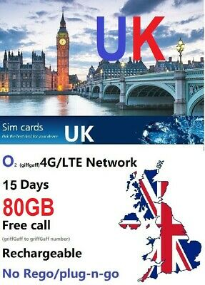 UK travel 15 days 80GB prepaid sim original O2 4G unlimited UK local call