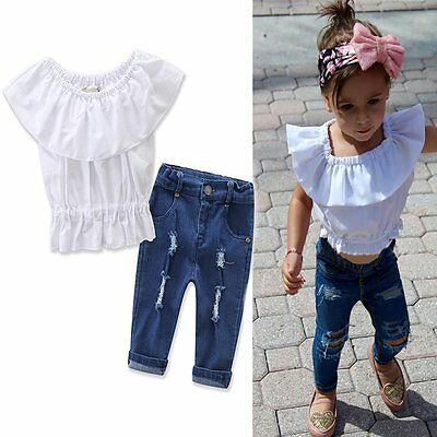 Toddler Kids Baby Girls Outfits Clothes T-shirt Tops+Denim Pants Jeans 2PCS Set