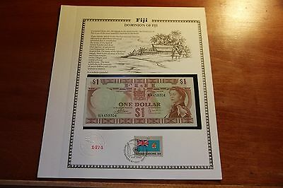 1974 Fiji $1 Banknote P.71b Gem UNC United Nations Collection
