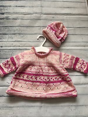 Baby Girls Clothes 0-3 Months - Pretty Hand Knitted Pink Jumper & Hat