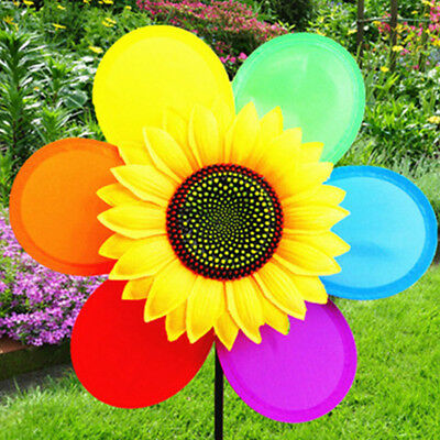Sunflower Windmill Wind Spinner Rainbow Whirligig Wheel Home Yard Party Decor