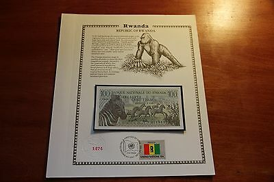 RWANDA Africa 100 Francs UNC Zebra 1978 P.12a United Nations