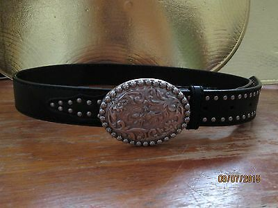 Roper Black Nailhead Belt W/ Floral Plaque Bullrider Buckle Size: 30