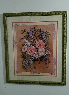 """Home Interiors picture """"Hummingbirds & Basket of Flowers"""""""