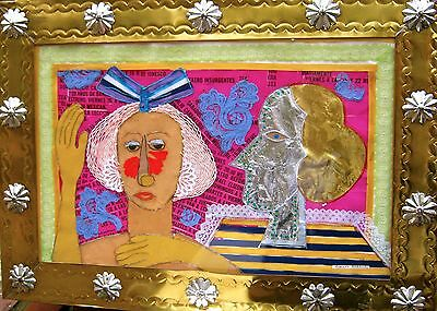 "ORIGINAL Rodolfo Morales ""El Teatro"" Fabric Collage Tin Frame 1980s"