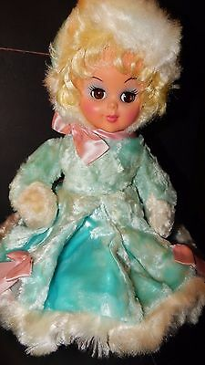 "Vintage Pajama Bag Doll Rushton? Spot Plush Rubber Face Turquoise 16"" RARE"