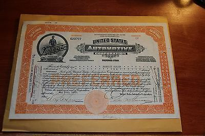1922 United States Automotive Corporation Vintage Auto Stock Certificate 1 Share