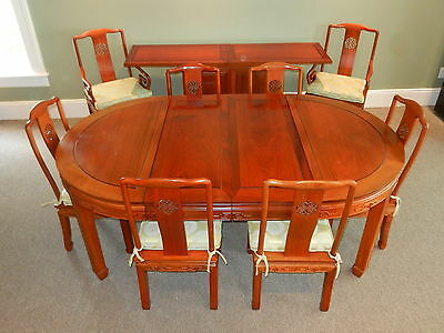 Mahogany 10pc. Oriental CHINESE DINING ROOM SET Table w/Leaves Credenza 8 Chairs