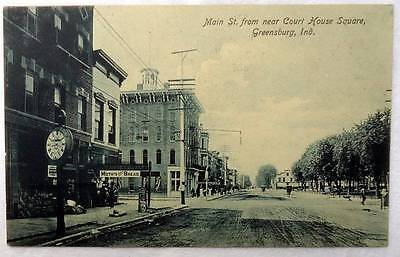 1908 Postcard Main Street Store Fronts Greensburg Indiana #x89