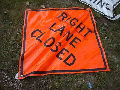 """RIGHT LANE CLOSED Fluorescent Vinyl With Ribs Road Sign 48"""" X 48"""""""