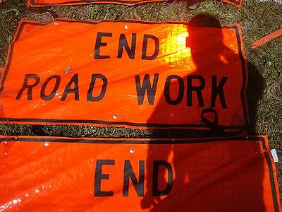 END ROAD WORK LOT OF THREE Fluorescent Vinyl With Ribs Road Signs