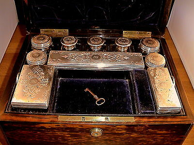 Fine 19thC Brass Bound Coromandel And Solid Silver (Vickery) Dressing Case