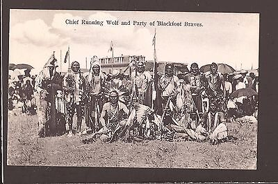 1907 Blackfoot Indians Chief Running Wolf & Party of Blackfoot Braves Postcard