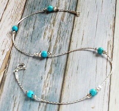 ANKLET blue TURQUOISE Solid 925 Sterling Silver Chain  Ankle Bracelet 10''