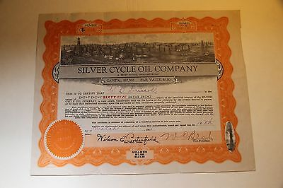 1920 Silver Cycle Oil Company Vintage Petroleum Stock Certificate