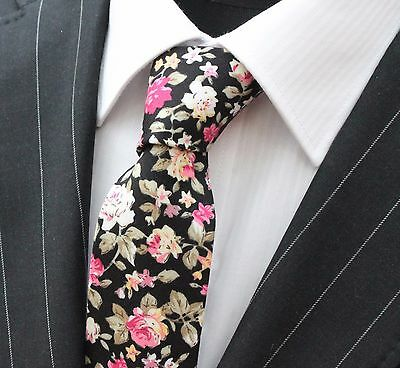 Tie Neck tie Slim Black with Rose Floral Quality Cotton T6028