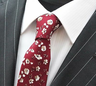 Tie Neck tie Slim Wine Red with White & Brown Floral Quality Cotton T6032