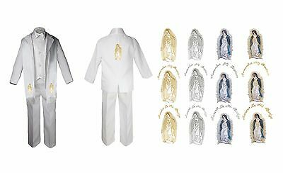 Baby Boy Christening Baptism Formal White Suit Stole Back Guadalupe Maria Sm-7