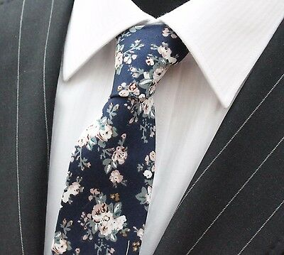 Tie Neck tie Slim Navy Blue with White & Multi Floral Quality Cotton T6003