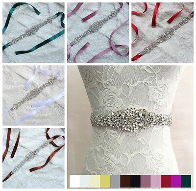 Wedding Party Deluxe Rhinestone Bridal Sash Waist Belt Satin Ribbon Dress Solid