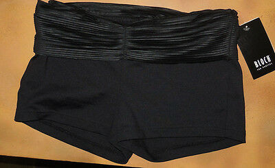 NWT Dance Bloch Black Booty Shorts Pleated Waistband Ladies Small Adult R5934