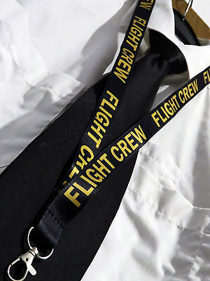 Lanyard FLIGHT CREW Black/Gold keychain neckstrap for pilot crew Lanyard