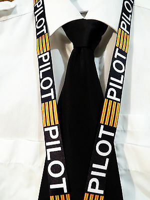 Lanyard PILOT Black with 4 Golden Bars keychain neckstrap for pilot crew Lanyard
