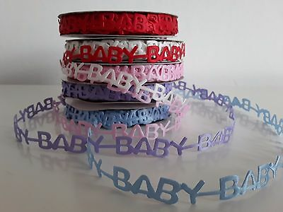 1M Baby Letter Lace Laser cut Trim Ribbon Sew On  Satin Pink Blue White Red