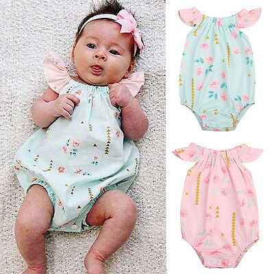 US Stock Newborn Infant Baby Girl Floral Romper Bodysuit Jumpsuit Outfit Clothes