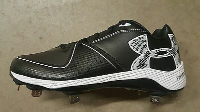 Brand New Under Armour Women's Glyde Metal Softball Cleats Black & White