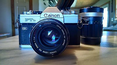 Canon FTb QL 35mm  f1:1.4 SLR Film Camera with 50mm and 135mm f1:2.8 lens