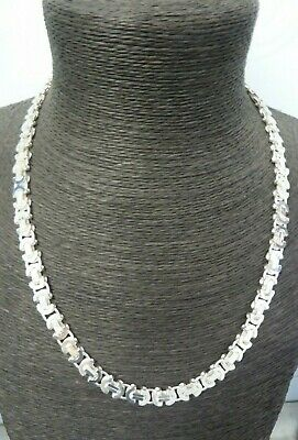 New Solid Sterling Silver.925 Heavy Flat Byzantine Chain 63 grams - 22""