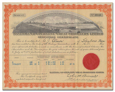 Manitoba Co-Operative Wheat Producers Limited Deduction Certificate