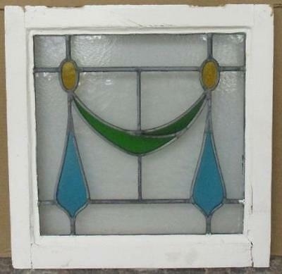 """OLD ENGLISH LEADED STAINED GLASS WINDOW Pretty Abstract Ribbon 19"""" x 19.5"""""""