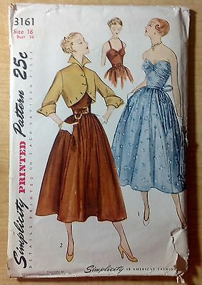 Vintage 1940s 1950s SIMPLICITY Sewing Pattern 3161 One-Piece Dress Jacket B34