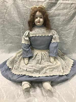 "Antique Primitive 24"" Tall Doll Paper Mache Head Mohair Stuffed Cloth Body"