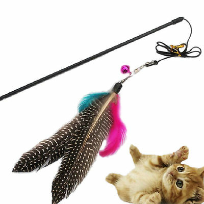 1PC Kitten Play Interactive Fun Toy Cat Teaser Wand Pet Colorful Feather + Belll