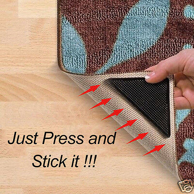 4Pcs Black Washable Triangle Carpet Mat Pad Non Slip Rug Grippers +4 Sticky Pads