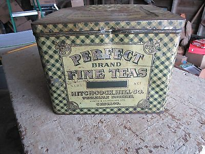 Vintage Metal Large Perfect Brands Tea Tin Hitchcock Hill Very Rare!!  Lot 17-11