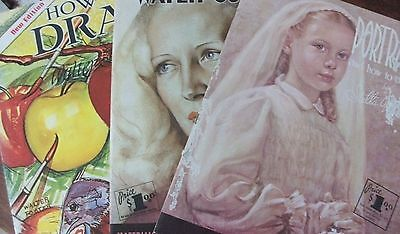 How to draw how to do water colors portraits vintage art books x3 Walter Foster