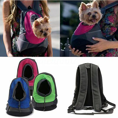 Puppy Pet Dog Backpack Carrier Travel Note Bag Front Net Double Sling Shoulder