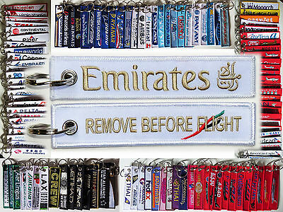 Keyring EMIRATES AIRLINES WHITE Remove Before Flight baggage tag label keychain