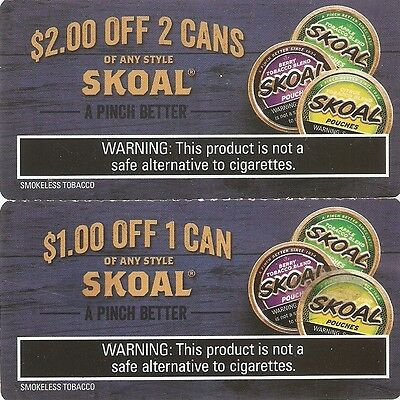 3 Coupons - Save $2, Save $1.50, and Save $1 off Any Style Can on Skoal