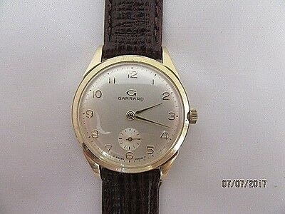 C1950 Garrard 9ct Gold Engraved Manual Wind Wrist Watch