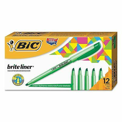 BIC? Brite Liner Highlighter, Chisel Tip, Fluorescent Green, 12ct. *** NEW ***
