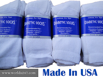 Best quality 12 Pairs men's white Diabetic crew socks Size King 13-15 Made ByUSA