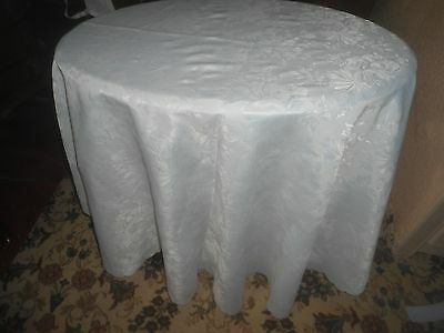 """A Gorgeous White Floral Design  Polyester Tablecloth  68"""" X 68"""""""