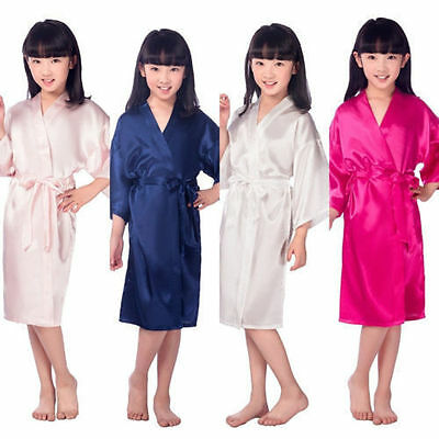 Kid Silk Satin Kimono Robes Bathrobe Sleepwear Wedding Flower Girl Night Dress!!