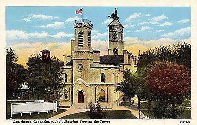 Greensburg Indiana~Decatur Courthouse~Tree in Tower~Roadside~1940s Postcard