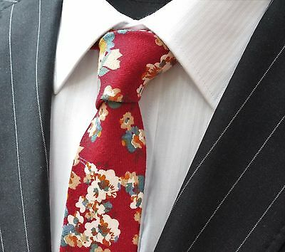 Tie Neck tie Slim Wine Red with Floral Quality Cotton T6120